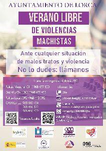 El Ayuntamiento de Lorca se suma a la campaña 'Verano libre de violencias machistas'