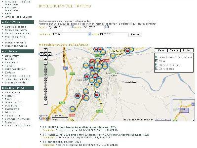 La web municipal del Ayuntamiento de Lorca muestra las incidencias de tráfico a través de Google Maps