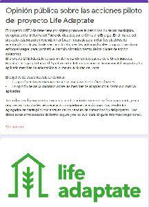 Medio Ambiente colabora en la difusión de una encuesta para evaluar el impacto socioeconómico del proyecto LifeAdaptate