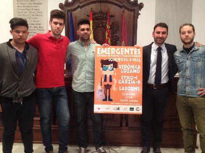 Verónica Lozano, CyscoC & GarziaK y Labouns, en la final del concurso Emergentes de jóvenes artistas lorquinos, que será este sábado en el Teatro Guerra
