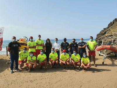El alcalde supervisa el Plan de Vigilancia en las playas de Lorca con medidas frente al coronavirus