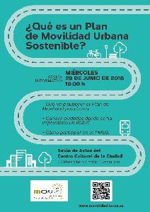 La Concejalía de Urbanismo invita a todos los ciudadanos interesados en conocer qué es un Plan de Movilidad Urbana Sostenible a una sesión informativa en el Centro Cultural
