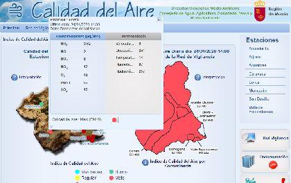 Disminuye la concentración de PM10 en el municipio de Lorca aunque persiste la intrusión de polvo sahariano