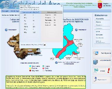 Lorca registra un incremento de los niveles de PM10 debido a una fuerte intrusión de polvo sahariano