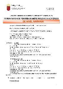 Alerta naranja por lluvias en Lorca a partir de las 20:00