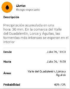 La Concejalía de Emergencias activa la Fase de Preemergencia del Plan Especial para Inundaciones de Lorca