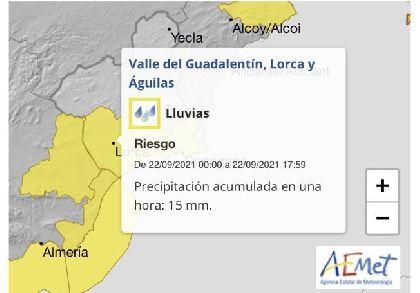 El Ayuntamiento activa el Plan INUNLOR en fase de preemergencia ante el aviso nivel amarillo por fuertes lluvias